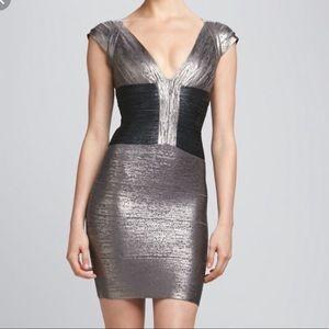 Herve Leger Grey Metallic Dress